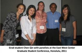 Graduate student Chen Qin with panelists at the East-West Center Graduate Student Conference, Honolulu, 2011